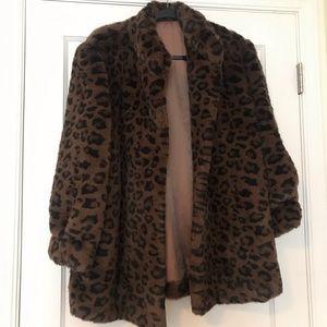 Vintage Leopard Faux Fur Coat